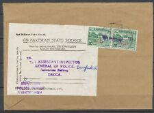 1971 Lettre BANGLADESH Libre 04/73 timbres du Pakistan surchargés RRR P2921