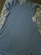 Lularoe Carly Dress M, Blue/White Stripe, Unicorn Bnwt