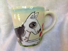 Hand Painted Ceramic Bull Terrier Coffee Mug signed by Debby Carman