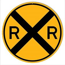 "RAILROAD TIN SIGN -  Railroad Crossing // 10"" RoundTrain Wall Art / Grandpa Gift"