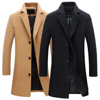 Men's British Casual Wool Outwear Long Overcoat Coat Jacket Trench Winter Warm