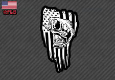 "American flag Bass fish sticker decal- fishing USA 5"" (BassAmerFlagFC5"")"