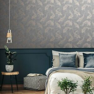 Koi Carp Fish Motif Design Wallpaper | Grey & Rose Gold