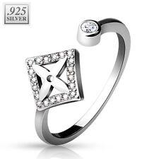 Coolbodyart 925 Sterling Silber Finger-Zehenring verstellbar Diamantform