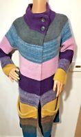 Theory mustard grey striped long line coatigan cardigan cashmere angora mohair