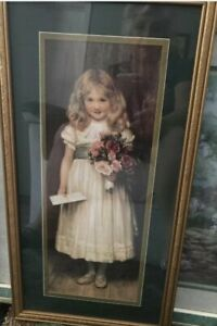 """Vintage Home Interiors Girl with Letter & Flowers Picture 24""""X12"""" Love Letter"""