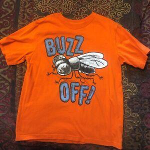 EUC Boys The Children's Place Orange Buzz Off Shirt Size L (10-12)