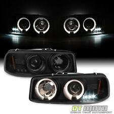 Blk Smoke 1999-2006 GMC Sierra Yukon XL LED Halo Projector Headlights Headlamps