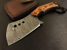 Handmade Damascus Steel Hatchet/ Axe-Antique style-Leather Sheath-Lanyard