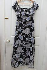 Crossroads Black Floral Maxi Ruffle Dress Boho Spring Off the Shoulder Size 10