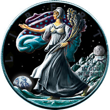 "LIBERTY ""WALKING ON MOON"" OUNCE OF SPACE COLOURED 1 OZ BU SILVER COIN USA 2016"