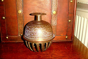 """ANTIQUE/VINTAGE INDIAN/TIBETAN ETCHED BRASS ELEPHANT TEMPLE CLAW BELL 5"""" High"""