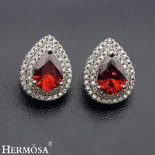 Romantic Wedding Red Garnet White Topaz 925 Sterling Silver Earrings5/8'' JXK043