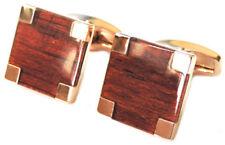 Beautiful Contemporary Rose Gold and Mahogany Wood Cufflinks CUFFLINKS.DIRECT