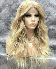 Hand Tied Monofilament Lace Front Full Wig Long Wavy Layered Blonde Mix Heat OK