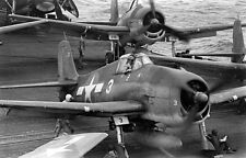 WWII B&W Photo US Navy F6F Hellcat VF-16 USS Lexington CV-16 1944  WW2 / 5177