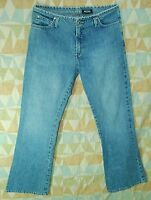 Loose Fit FLARE Leg Low Rise No Waistband ANCHOR BLUE Denim Jeans! 8