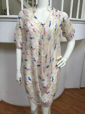 Beulah Silky Sheer Horse Print 3/4 Sleeve Draped Mini Tunic Dress Sz M NWT!!!