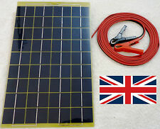 Very Light 10w Solar Panel <500g 12v Charger c/w 4m cable BLOCK Diode & Clips CE