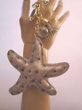 Schlüsselanhänger Taschen Anhänger See Stern Quaste Perle Gold Silber Kunstleder