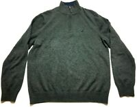 Nautica Mens Gray Long Sleeve 1/4 Zip Sweater Size Large