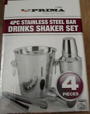 4pc Prima Stainless Steel Cocktail Drink Shaker Set