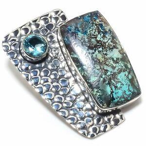 "Shattuckite, Blue Topaz Gemstone Handmade 925 Silver Jewelry Pendant 1.62"""
