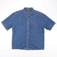 EDDIE BAUER  Blue 00s Long Sleeve Denim Shirt Mens XL