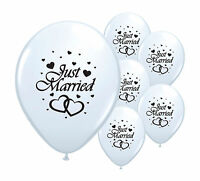 """10 JUST MARRIED WHITE 12"""" HELIUM QUALITY PEARLISED BALLOONS"""