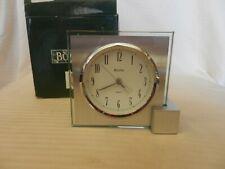 Bulova Design Decision Quartz Desk Clock #B9993 Glass and Silver Metal