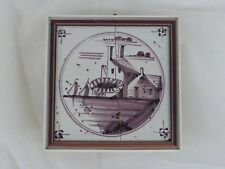 Old Tile Delft Tile Landscape Manganese Painting - from Estate Motif 177