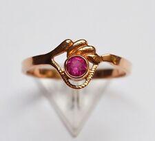 Top Damenring Ring Damen 14 Karat 585 Gold Rotgold 2,44g Rubin Handarbeit Gr. 60