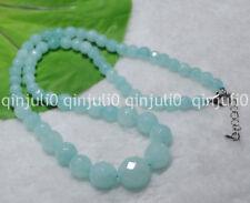 "6-14mm Light Blue Brazilian Aquamarine Gems Round Beads Necklaces 18"" JN1397"