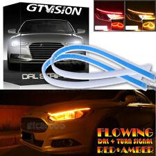 2pcs Ultra Thin Car LED Headlight Daytime Running Light Eyebrow Strip Red Amber