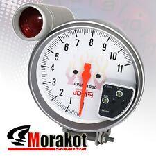 """Jdm Sport 5"""" Inch 7 Color White Face 11K RPM Tachometer Led Gauge+Shift Light"""