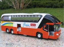Diecast Car Model Orange Passenger Bus Toy 1/38 scale Vehicle With Light&Sound