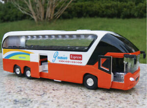 Diecast Car Model Orange Passenger Bus Toy 1/38 Vehicle Model w/ Power Back