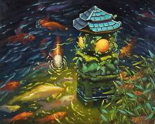 """Stone lantern with Koi fishes, Original artwork oil painting, fantasy 16''x20"""""""