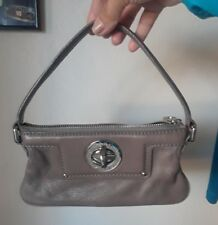 Marc by Marc Jacobs Leather Clutch Handbag Silver Turnlock Hardware Taupe
