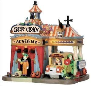 Lemax Spooky Town CREEPY CLOWN ACADEMY Lights Sounds Music 55905 RETIRED