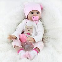 CHAREX Reborn Baby Dolls Lucy, 22 inch Newborn Girl Doll, Lifelike Soft Silicone