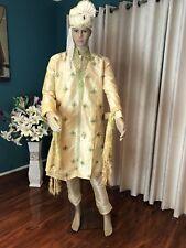 "42"" L Sherwani Suit Indian Bollywood Mens Kurtha Cream Green Outfit Kurta HH12"