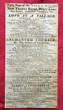RARE 1824 NEW THEATRE ROYAL BROADSIDE - ENCHANTED COURSER & LOVE IN A VILLAGE