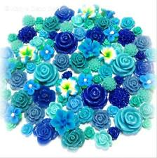 20 Pcs 7mm-24mm 'Sea Breeze' Blue Teal Green Resin/Clay Flower Cabochons Decoden