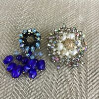 Vintage Brooches Brooch Pin Costume Jewellery Blue Bead Cluster Silver White