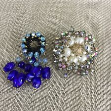 2 Vintage Brooch Brooches  Clip Pin Job Lot Costume Jewelry Crystal Cluster