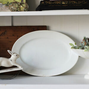 Antique Maddock and Co Ironstone Platter - White Ironstone Oval Serving Plate