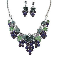 EG_ Prevalent Women Grape Pendant Choker Chain Necklace Earrings Jewelry Set