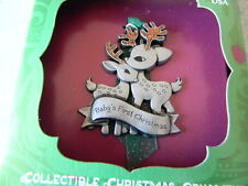 BABY'S FIRST CHRISTMAS Traditions Tree Ornament Raindeer Pewter MADE IN USA -New