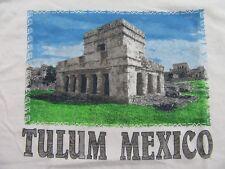 TULUM MEXICO Mayan Ruins Vacation Destination Souvenir White SS T Shirt Size S
